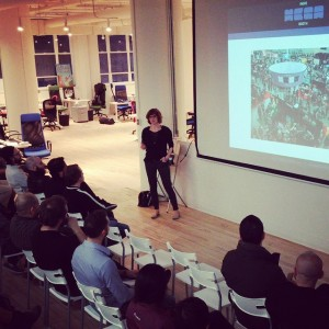 IndieMegaBooth overlord Kelly Wallick lectures on marketing at GamePlay Space.…