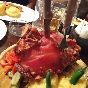 Eating half a pig at the traditional Caru Cu Bere…